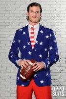 Opposuits Star & Stripes 3 delig kostuum: broek, colbert gevoerd en das
