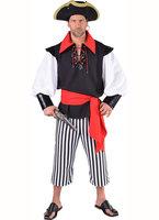 Piraat heren zwart wit 3 delig: blouse, broek, sjerp.