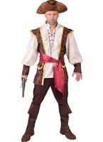 Piraat bruin 3 delig blouse met vest, broek en sjerp