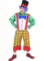Clownsbroek gele ruit met strik