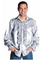 Ruches blouse luxe  zilver grijs satijn