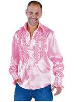 Ruches hemd licht roze satijn