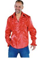 Ruches hemd rood satijn
