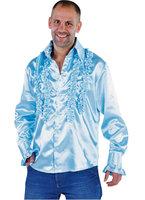 Ruches hemd licht blauw satijn