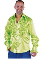 Ruches hemd appel groen satijn