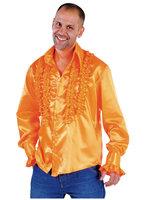 Ruches hemd oranje satijn