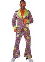 70's kostuum brede rever, colbert en broek funky colors
