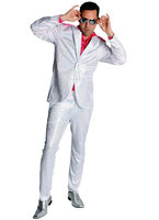 Disco glitterpak wit-zilver: jas en broek