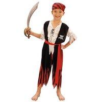 Piraat jongen 4 delig: broek, blouse, riem en hoed