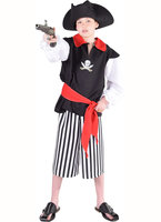 Magic Piraat 3 delig: blouse zwart, broek gestreept half lang en rode sjerp OP=OP