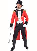 Slipjas circus directeur rood zwart met epauletten en vest (exclusief strikje)