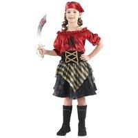 Piraten meisje: rok met blouse zwart/rood met bandana en riem