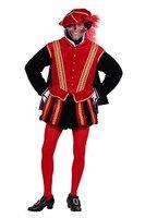 Heren piet kostuum San Sebastiaan fluweel rood-zwart