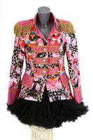 Luxe damesjas gevoerd, kort model panter met print roze OP=OP