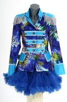 Luxe damesjas gevoerd, kort model Blue fantasy blauw zilver OP=OP