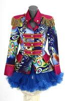 Luxe damesjas gevoerd, kort model Rainbow roze blauw OP=OP