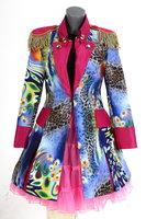Luxe damesjas gevoerd, lang model Rainbow roze blauw