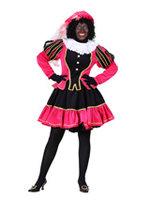 Zwarte Piet luxe kostuum dames polyester fluweel zwart-roze