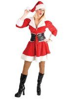 Kerstdame jurk polyester katoen met brede riem en kerstmuts
