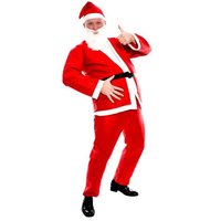 Kerstmanpak volwassenen: jas, broek, riem, baard en muts one size XL