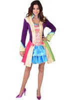 Dames jurk 'Colors' afgewerkt met goudbrokaat