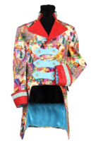 Luxe heren stijlvolle bonte gevoerde jas met fraaie rode revers en opstaande kraag