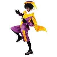 Zwarte Piet kostuum velours de panne Paars-Geel