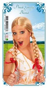 Pruik Gretchen blond met vlechten, one size