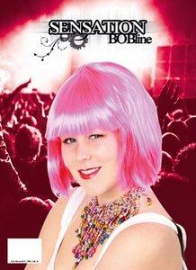 Sensation Bobline, page pruik kort model hard roze