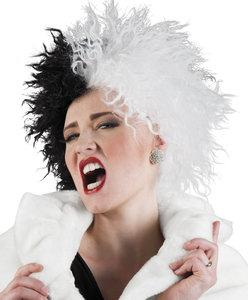 Pruik Cruella, zwart-wit