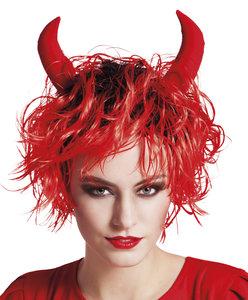 Pruik Curly Devil , rood met hoorntjes