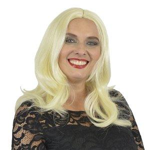Yvette pruik lang met  scheiding platina blond