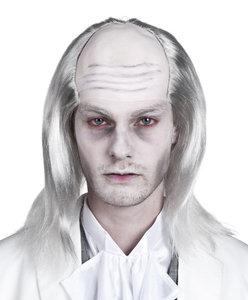 Kaalkop zombie rubber met grijs haar