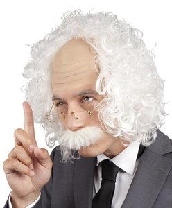 Professor Einstein, halve kaalkop met wit haar, snor en bril.