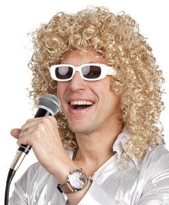 Pruik Gordon, blond met krullen en losse bril,  wit montuur.