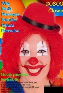 Clown touwtjes pruik rood