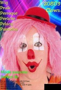 Clown touwtjes pruik roze