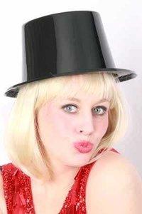 Hoge hoed, zwart plastic