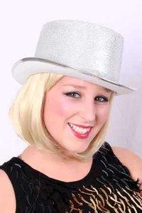 Hoge hoed Lurex zilver