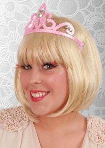 Tiara met kam prinses roze met steen