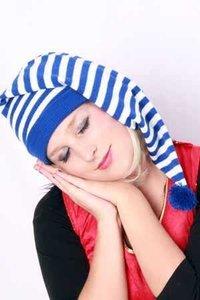 Slaapmuts blauw -wit gestreept, acryl