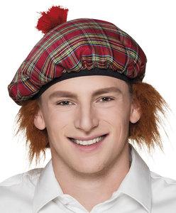 Schotse baret geruit met rand oranje haar