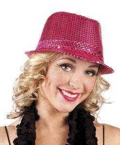 Hoed popstar pailletten hard roze