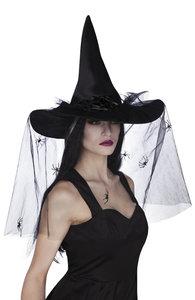 Heksenhoed zwart met tule en spinnen