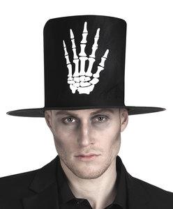 Hoge hoed zwart stof met opdruk skelethand