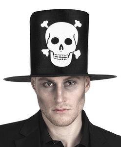 Hoge hoed zwart stof met opdruk doodshoofd