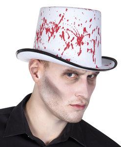 Hoge hoed wit met bloedspetters