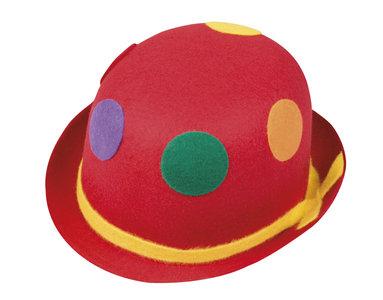 Clownbolhoed vilt, rood met stippen