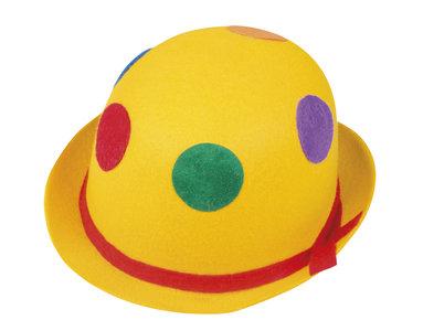 Clownbolhoed vilt, geel met stippen