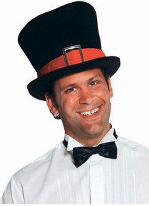 Hoge hoed zwart met rode rand luxe